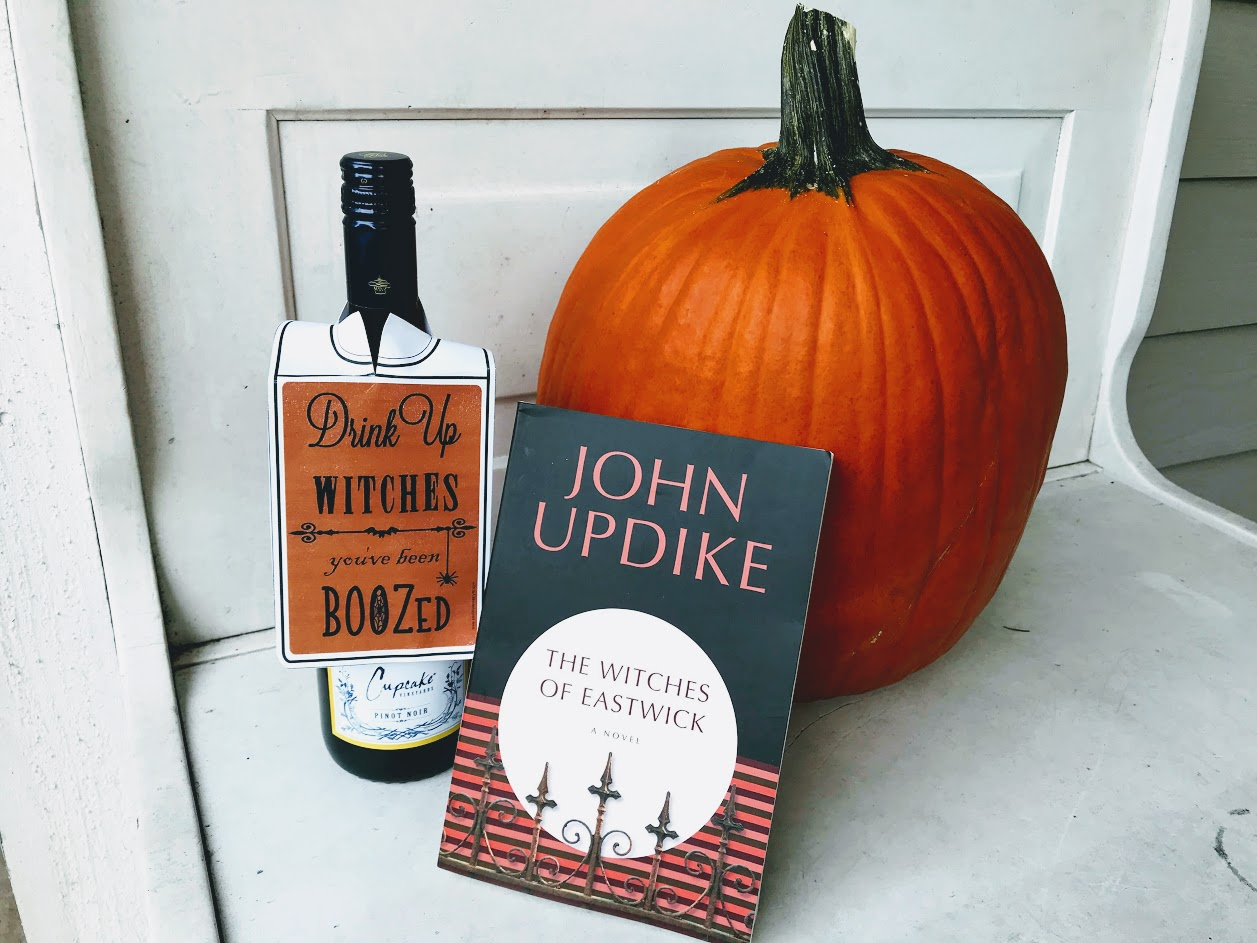witches of eastwick with wine and pumpkin for books and bordeaux book club